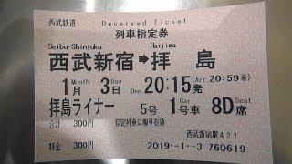 西武新宿駅の特急券売機で拝島ライナー5号の列車指定券(西武新宿⇒拝島)300円を購入してみた
