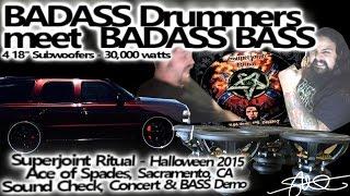 """BADASS Metal Drummers Meet BADASS BASS - 4 18"""" woofers 30,000 watts - Superjoint Ritual"""
