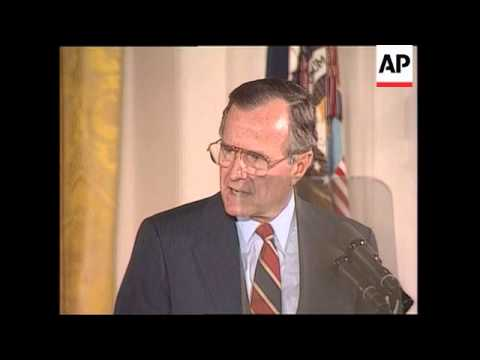 President George H.W. Bush makes remarks on the Clean Air Act