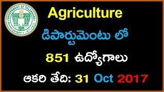 Telangana Agriculture Extension officer job Notification | Latest Government Jobs in Telugu 2017