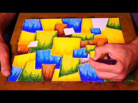 Simple Bright Cubism Abstract Painting Tutorial In Faber Castell | Pastel Colors