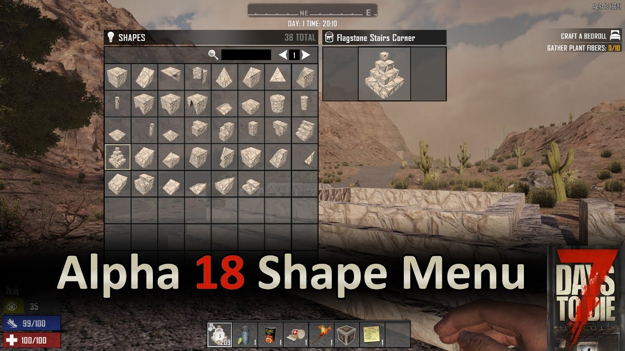 7 Days To Die Alpha 18 Shape Menu Youtube