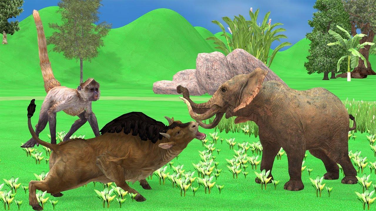 Monkey and Bull Fighting Story 2021 | Bedtime | Hindi Kahaniyan | Moral Stories In Hindi #short
