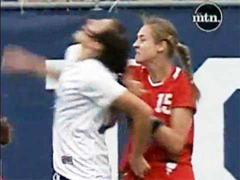 Female Soccer Star Attacking Other Players