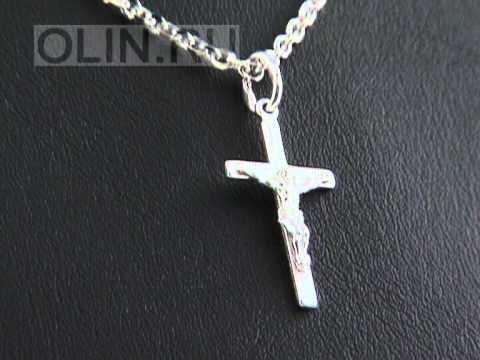 Нательный крест с распятием из серебра