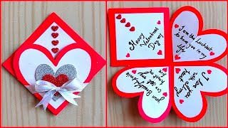 Easy And Beautiful Card For Valentines Day / Valentines Day Card Making Very Easy