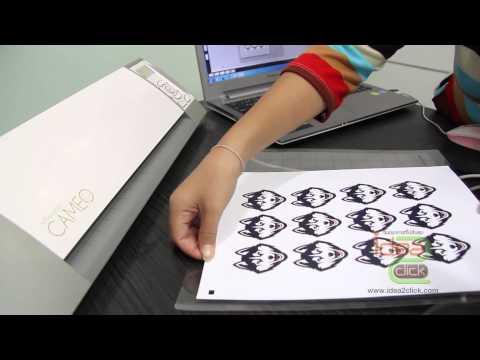 การไดคัทโลโก้ด้วยเครื่องตัดสติ๊กเกอร์ Silhouette Cameo โดย Idea2Click