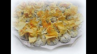 как приготовить мешочки тесто фило с курицей и грибами рецепт от Валентины видео рецепт