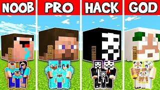 Minecraft FAM LY HEAD BLOCK HOUSE BU LD CHALLENGE   NOOB Vs PRO Vs HACKER Vs GOD In Minecraft
