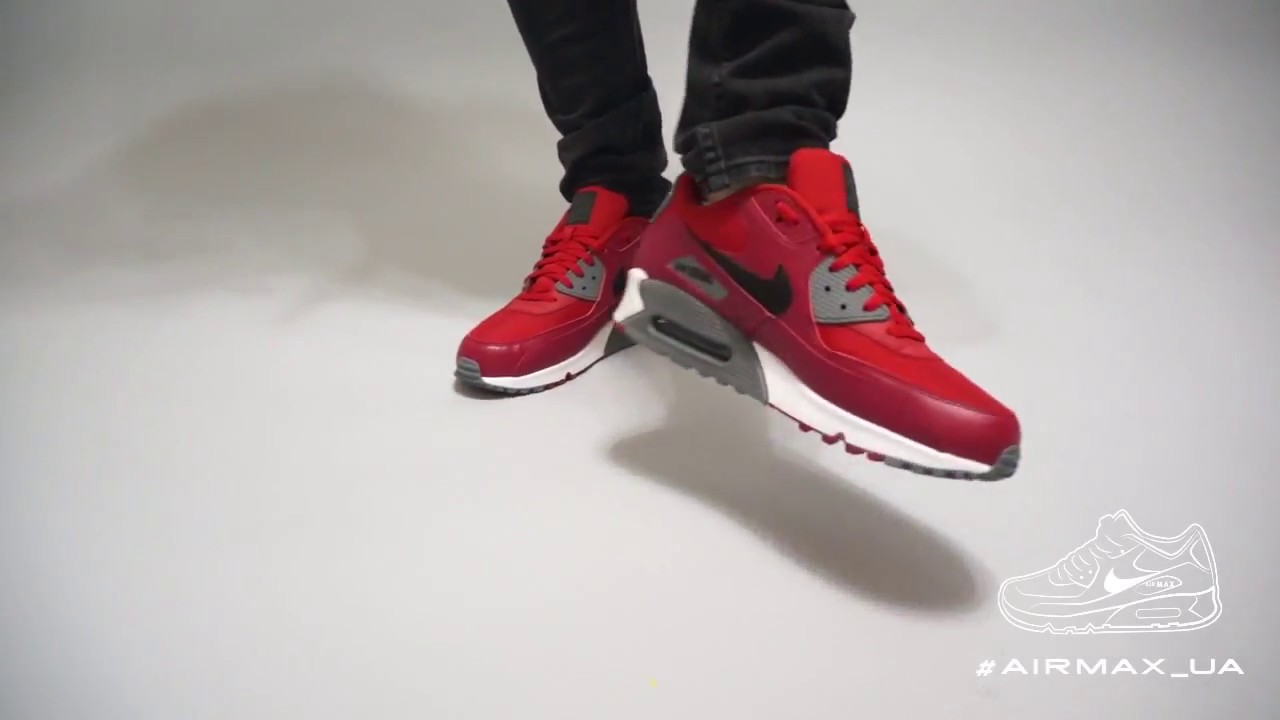 new york 4133a 885c9 Nike Air Max 90 Essential Gym Red Grey on Feet