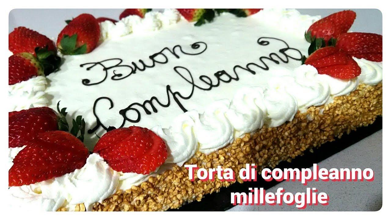 Torta di compleanno millefoglie con scritta birthday cake for Decorazioni torte con fragole e cioccolato