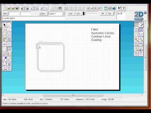 2D design Introduction basic tools, Fillet Iso Circles Contour ...
