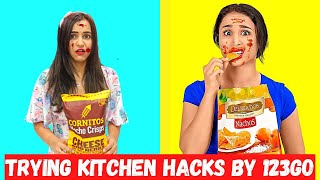 Trying KITCHEN Hacks & Tricks by 123GO 😉