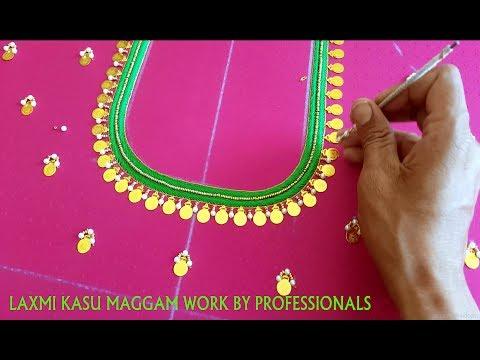 Aari Maggam Work Designs // Laxmi Kasu Maggam Work On Blouse Full Tutorial