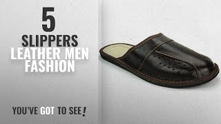 Top 10 Slippers Leather [Men Fashion Winter 2018 ]: Mens House Slippers | Genuine Leather | 02 (13)