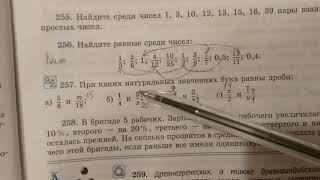 257 математика 6 класс. Когда равны дроби