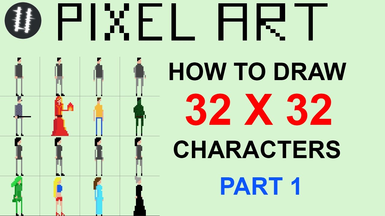 how to pixel art tutorials 13 draw 32x32 character part 1