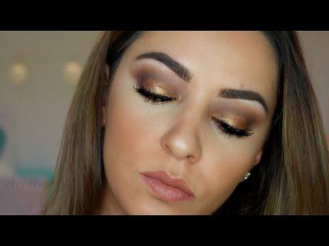Gold Smokey Eye Makeup Tutorial for Hooded Eyes