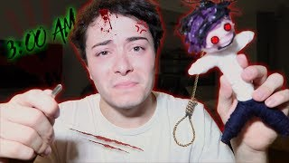 (I STABBED MYSELF) DO NOT USE A REAL LIFE VOODOO DOLL AT 3AM! HAUNTED VOODOO DOLL 3 AM CHALLENGE!