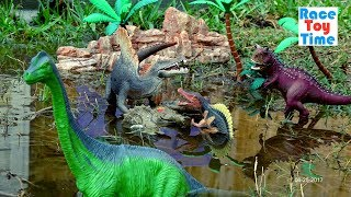 Dino Attack Adventure! Fun Dinosaur Toys at the Watering Hole For Kids │ Learn Dinosaurs For Kids