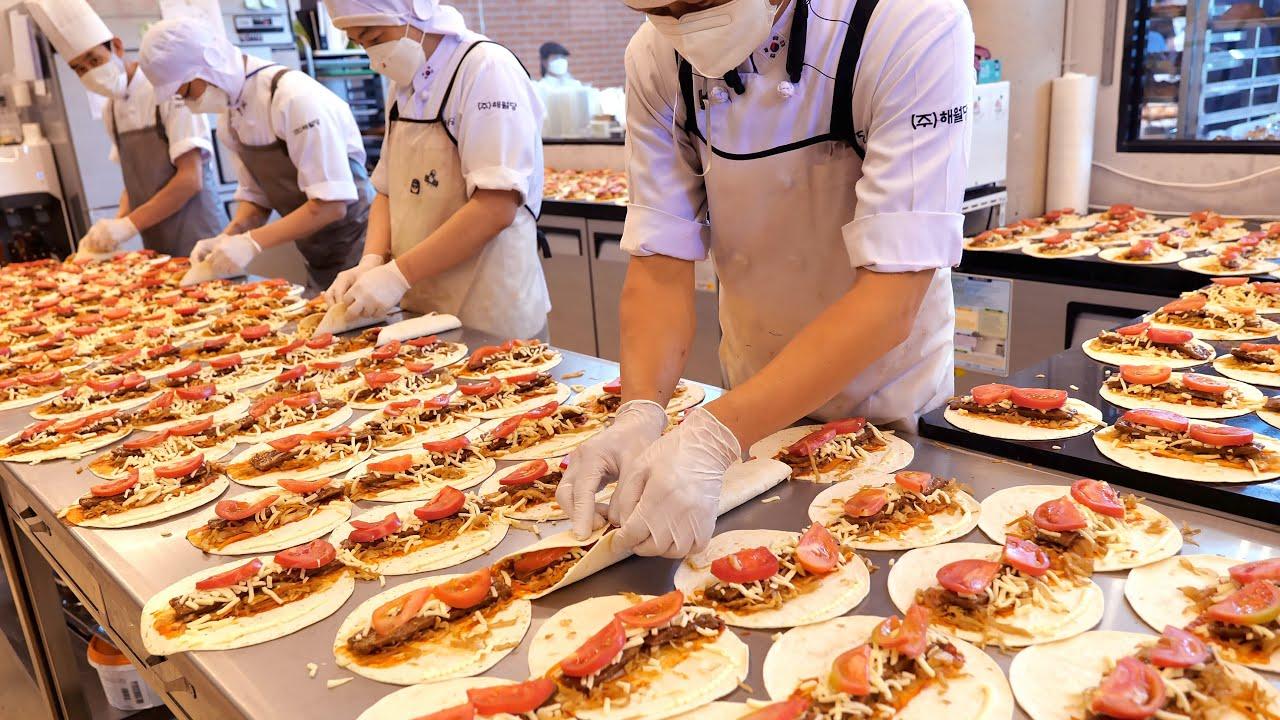 완판 ! 완판행렬 ! 보기만 해도 건강해지는 언양 불고기 또띠아 대량생산 현장 | Mass production of bulgogi tortillas | Korean dessert