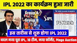 IPL 2022 Schedule, Date, Teams, Venue, New  Formate, Fixtures | IPL 2022 Mega Auction | 2 New Teams