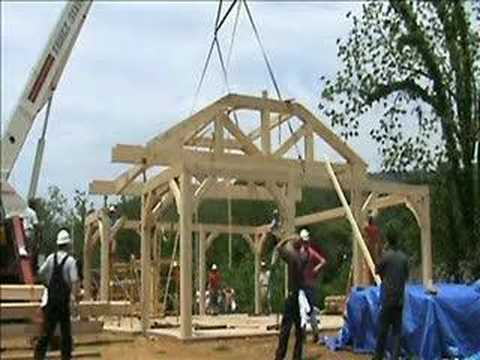 Timber Frame Raising Bridge Park Pavilion Youtube