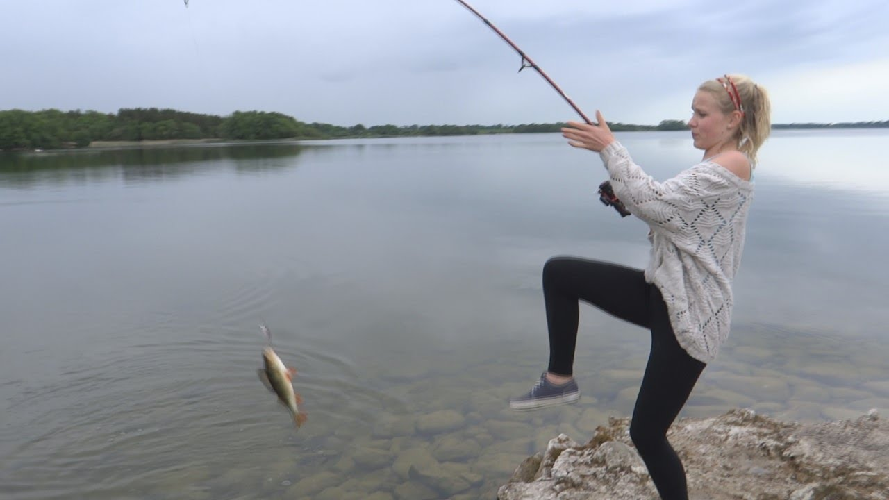 Teenage girl fishing for the first time and catches huge for Fishing for girls