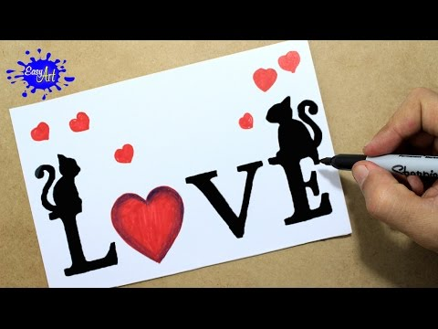 Como dibujar love/ how to draw love letters / targetas de amor