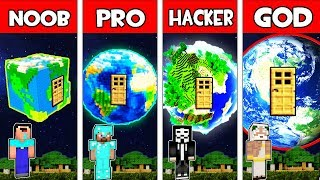Minecraft Battle NOOB vs PRO vs HACKER vs GOD : PLANET BLOCK HOUSE IN MINECRAFT! Animation