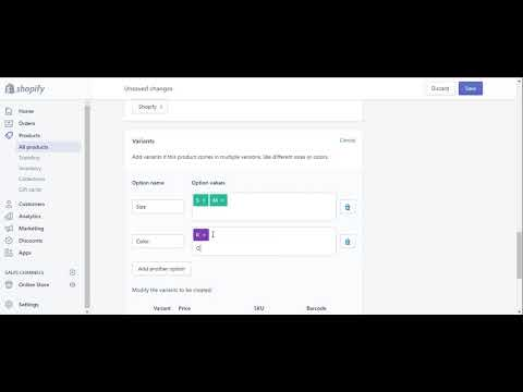 Add Product with variations in Shopify
