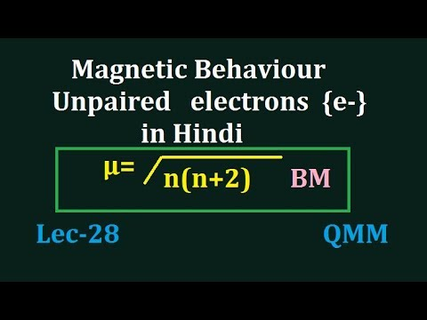 magnetic behaviour|| magnetic behaviour of transition elements|| magnetic moments of atoms,|| QMM