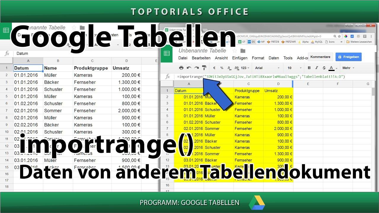 Zugriff auf andere Tabelle / Tabellendokument mit importrange ...
