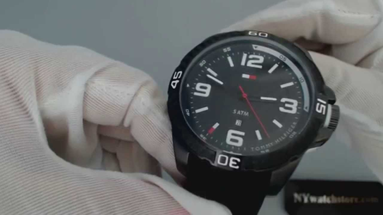 920ea7f0d Men's Black Tommy Hilfiger Silicone Band Sports Watch 1791090 - YouTube