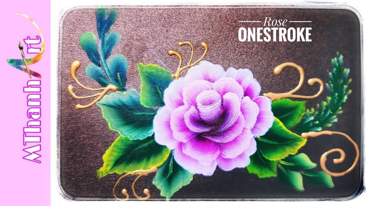 HƯỚNG DẪN VẼ HOA HỒNG ĐƠN GIẢN   CÁCH VẼ HOA HỒNG ĐẸP VÀ DỂ   ROSE ONE STROKE PAINTING  MTHANH ART