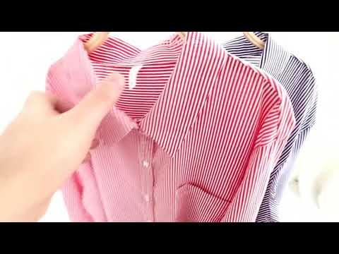 빅사이즈 루즈핏 캐주얼 스트라이프 남방 셔츠