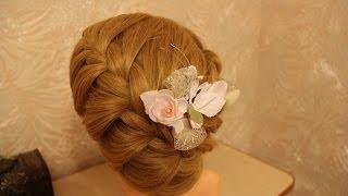 Причёска на средние волосы корзинка с плетением | Hairstyle basket