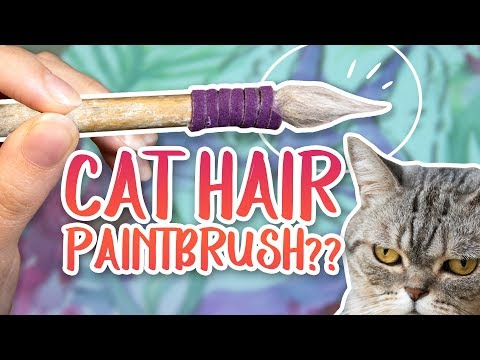 Making a CAT HAIR PAINTBRUSH - WILL IT WORK? Art Experiment