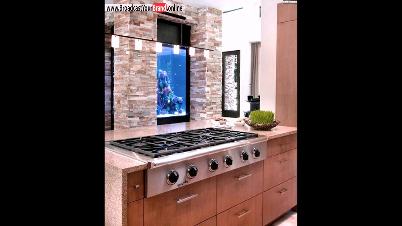 aquarium ideen ziegelwand eingebaut k che akzent youtube. Black Bedroom Furniture Sets. Home Design Ideas