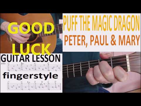 PUFF THE MAGIC DRAGON - PETER, PAUL & MARY fingerstyle GUITAR LESSON