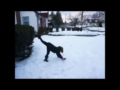In The Snow  Family Gymnastics Challenge W/ Bloopers