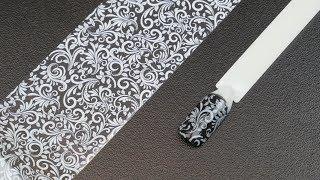 набор переводной фольги для ногтей кружева 4х15 см, 10 видов, цвет белый
