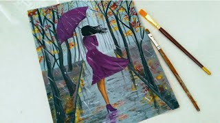Easy Rainy season scenery drawing for beginners|| A girl walking in the Rain acrylic painting||