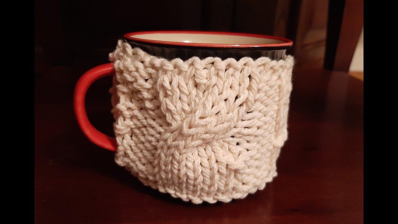 Tazza rivestita di lana con lavoro fatto ai ferri e... gioco con regalo!
