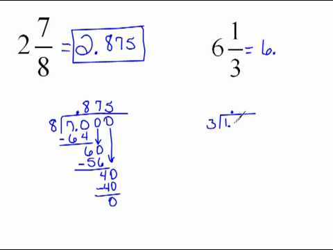 Converting Mixed Numbers to Decimals 4.6