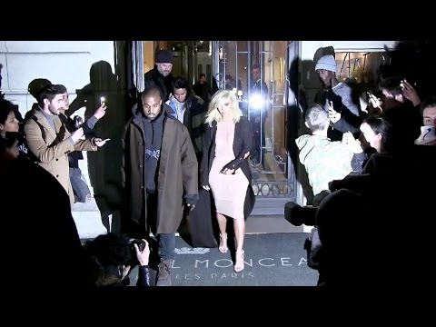Kim Kardashian and Kanye West on their way to Lanvin fashion Show in Paris