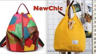 NEWCHIC. Кожаный рюкзак пэчворк. Хлопковый желтый рюкзак. Товары на обзор.