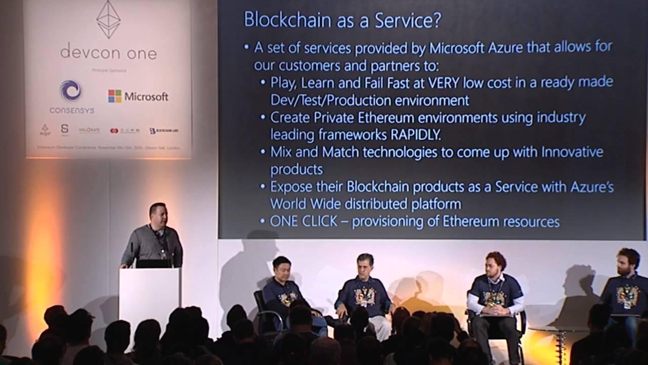 DEVCON1: Microsoft Announcing Ethereum Blockchain as a Service (ETH BaaS) on Azure Cloud