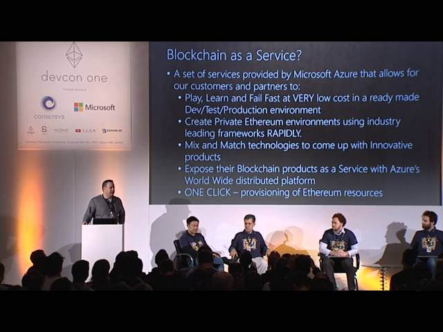 DEVCON1: Microsoft Announcing Ethereum Blockchain as a Service (ETH BaaS) on Azure Cloud