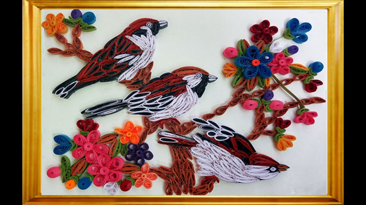 ☑️ Quilling Beautiful Color Full Flowers Beautiful Sparrow
